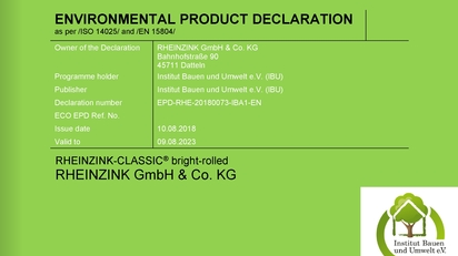 Zertifikat Environmental Product Declaration RHEINZINK